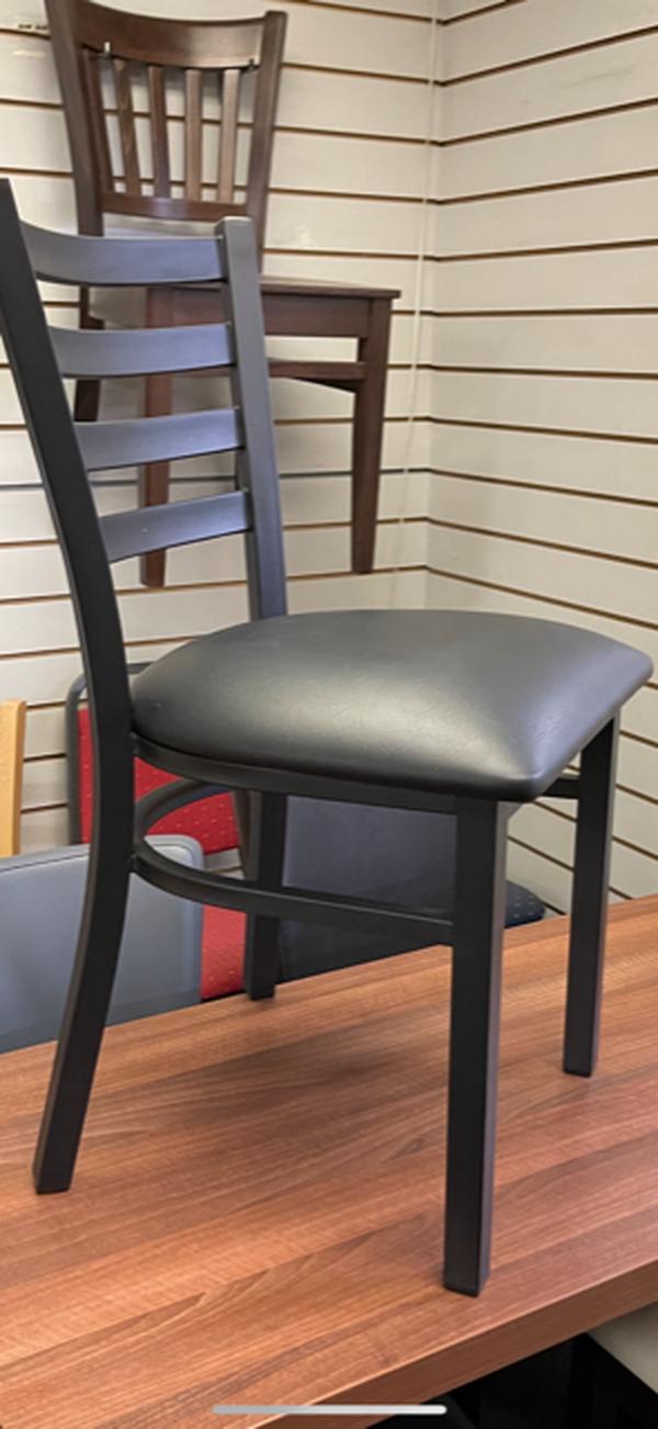 Black metal framed chairs