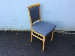 Dining / Restaurant Chairs light wooden frame upholstered in blue fabric
