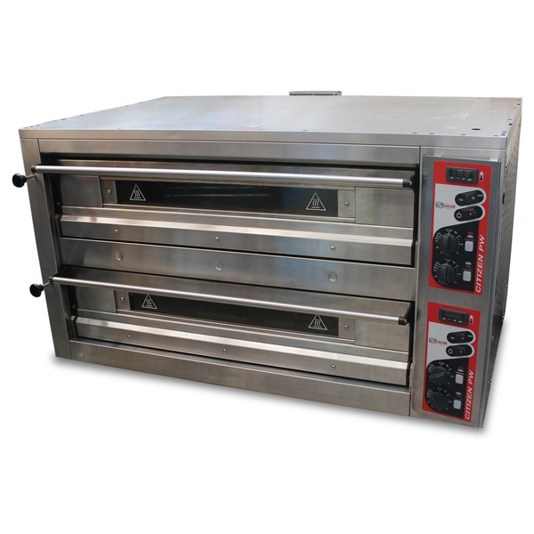 Twin deck pizza oven