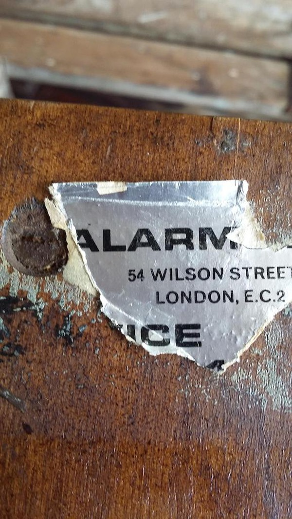 Wooden alarm box label