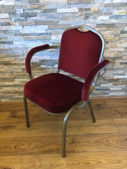 Shield Back Banqueting Arm Chairs in Red