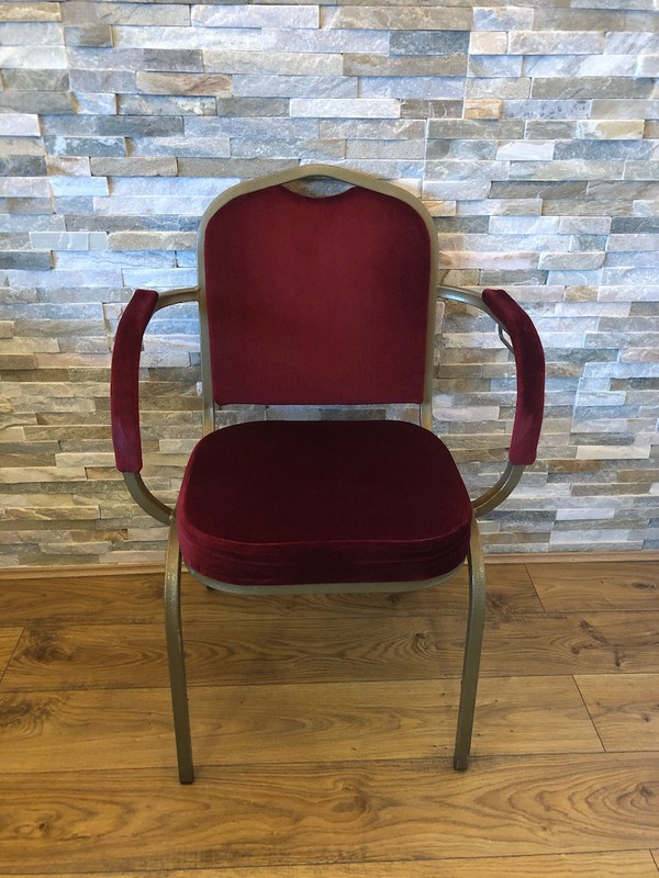 Red Shield Back Banqueting Arm Chairs