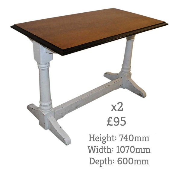 Shabby Chic Tables with White Legs and Dark Table Tops