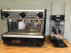 Two Group espresso machine and grinder