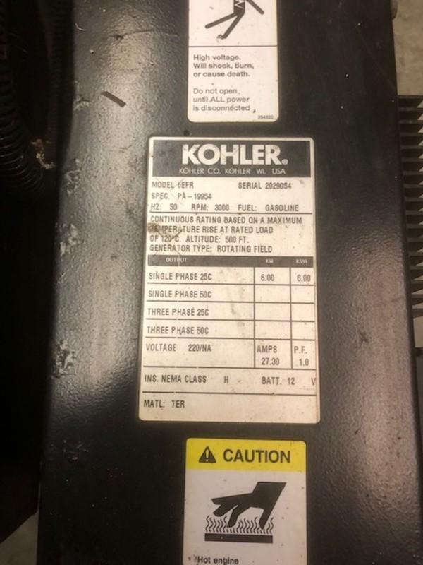 Kohler 6EFR Petrol Generator