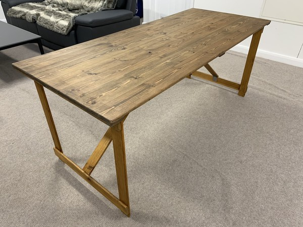 Rustic Wooden Folding Trestle Tables