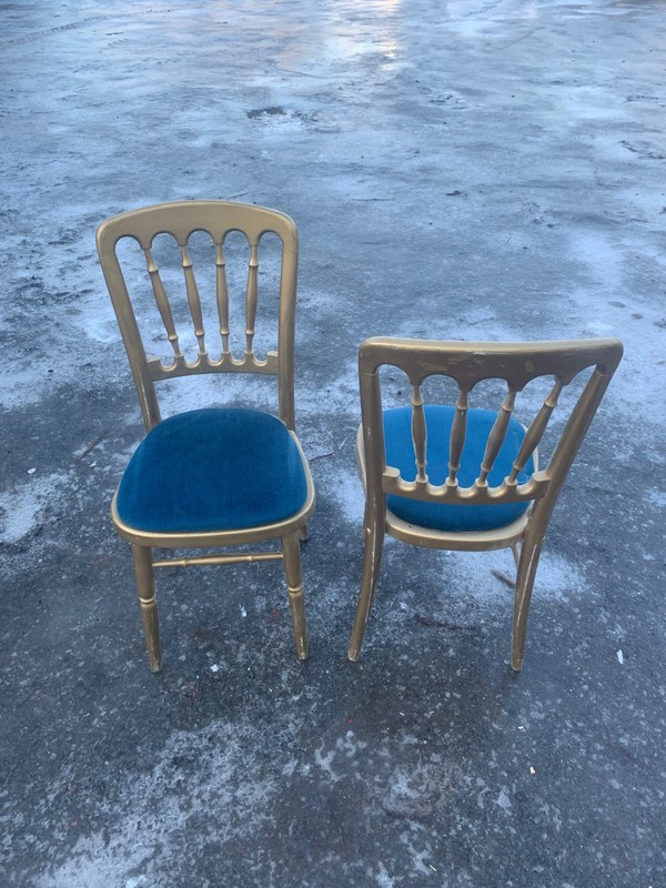 Gilt Cheltenham chairs with blue seat pads