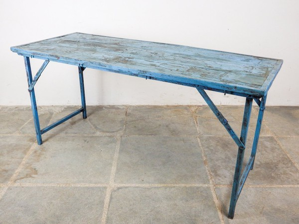 Distressed Rustic Blue Folding Trestle Tables