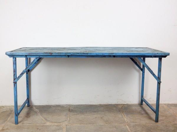 Vintage  Blue Folding Trestle Tables
