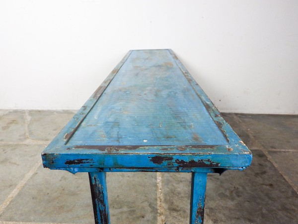 Distressed Blue Folding Benches