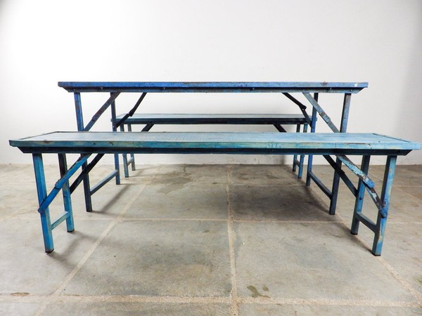 Shabby Chic Folding Benches in Blue