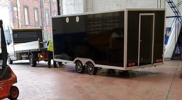 Black twin wheel catering trailer
