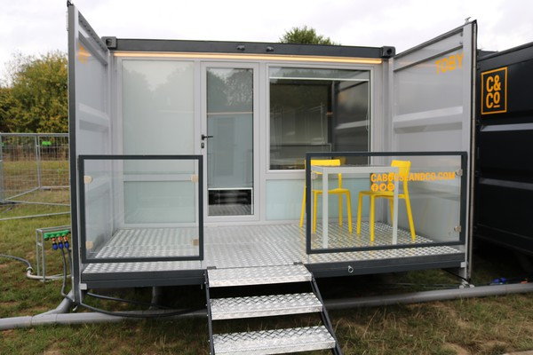 Shipping container pod with sun deck