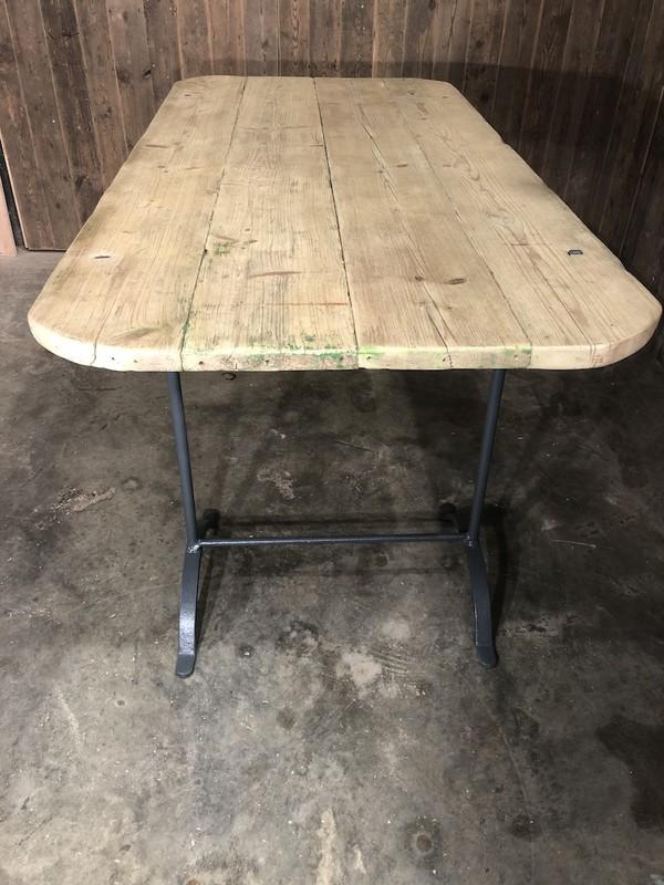 Vintage Trestle Table with metal legs