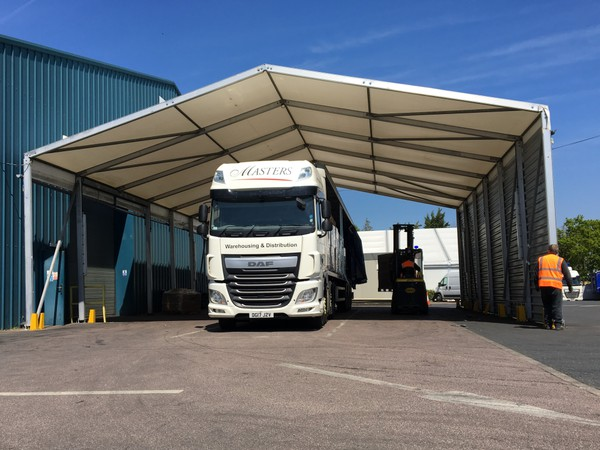 Covered loading bay marquee