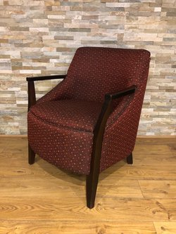 Luxury Ex-Hotel Armchairs with Red Patterned Upholstery