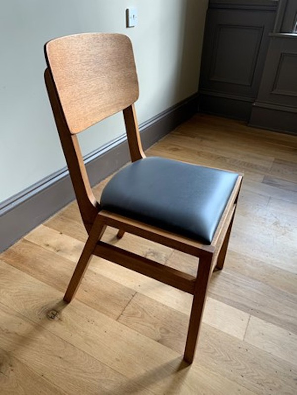 Vintage 'School Chair' Style Dining Chair with Leather Padded Seat