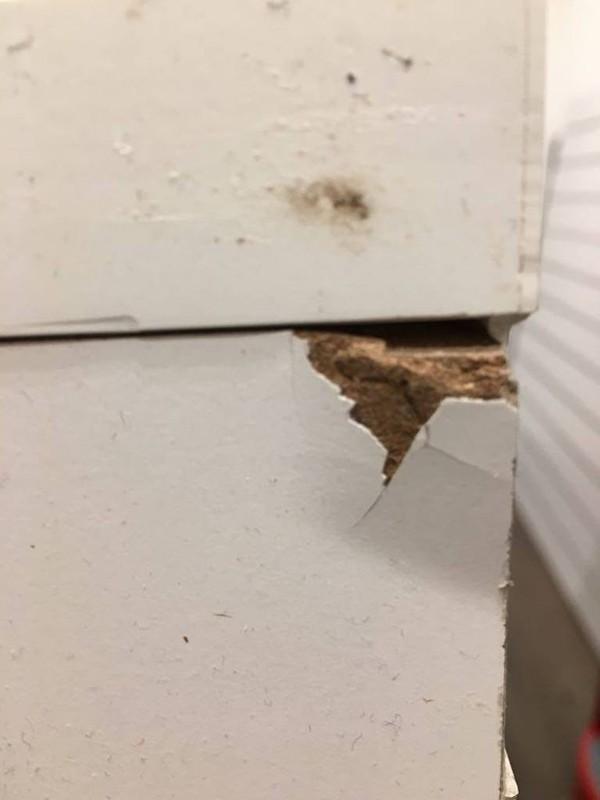 Hensley White Shop Counter Unit damage