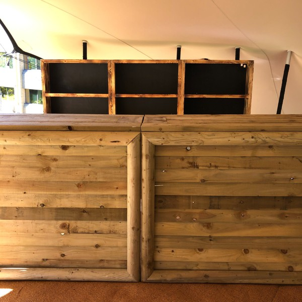 Rustic wooden bar counters