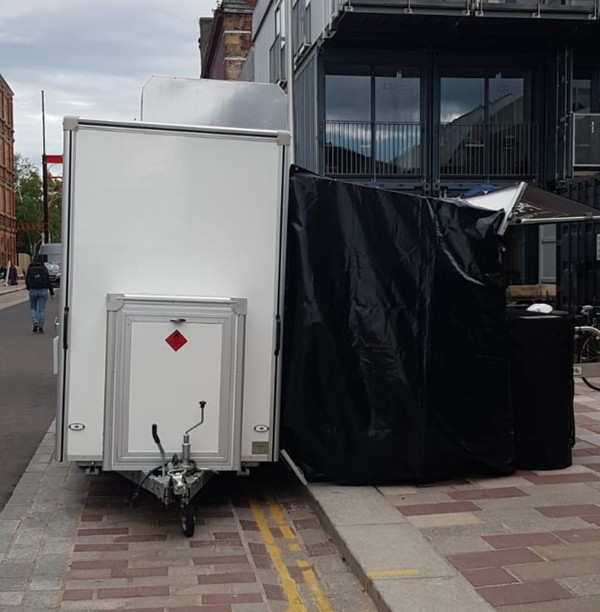 Catering trailer with awning