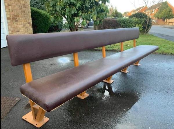 Reclaimed school canteen bench