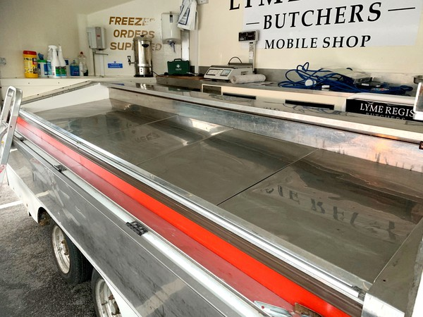 Refrigerated counter in shop trailer