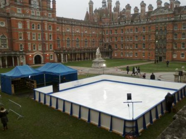 Synthetic Ice rink with barriers