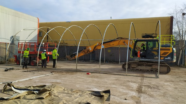 Curved roof steel marquee frame