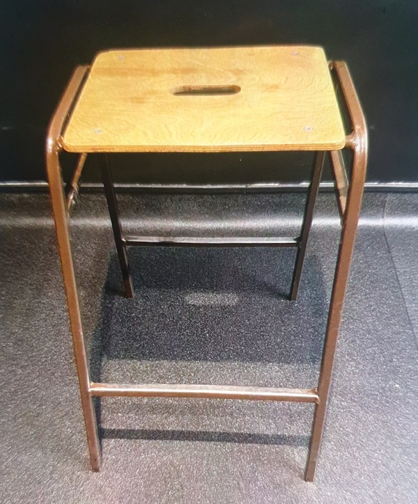 Wooden Stool with Metal Frame