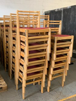Stacking and linking church or chapel chairs