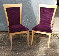 High back chairs with purple fabric