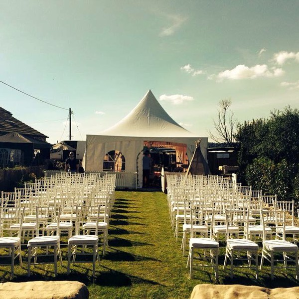 6m x 6m Pagoda marquee with chiavary chairs