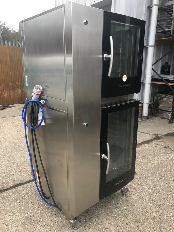 Stacked Passthrough Electric Combi Ovens for sale