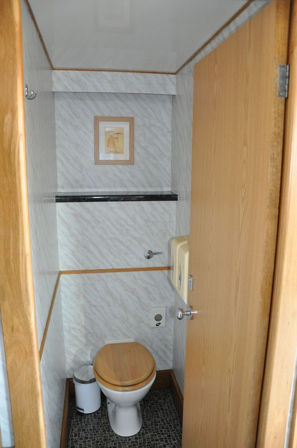 Wood and marble toilet interior