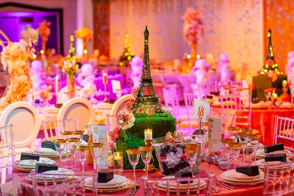 Eiffel tower Table Centre with grass plinth