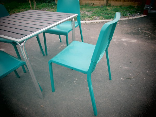 Square Tables and Emerald Green Chairs Sets