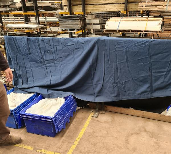 Blue fibre optic cloth