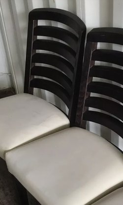 Dining / Restaurant Chairs with dark ladderback frame and cream seat