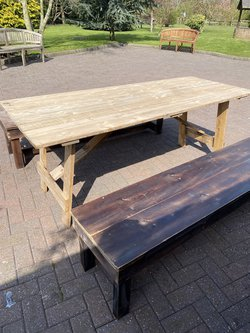 Trestle Table and Bench Set