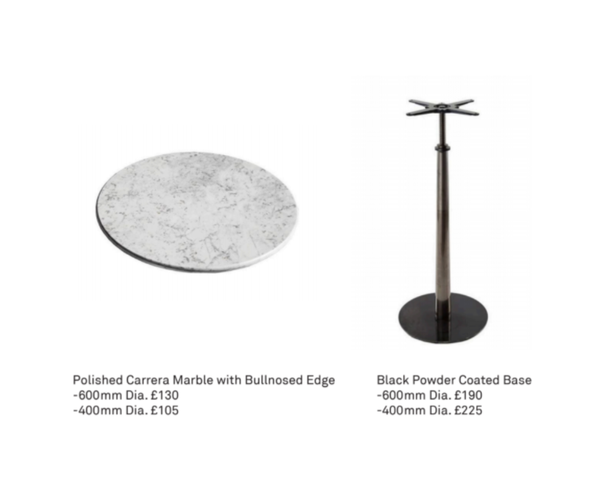 Marble hi top tables for sale