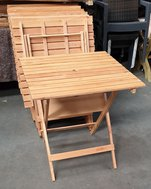 square folding wooden slat tables