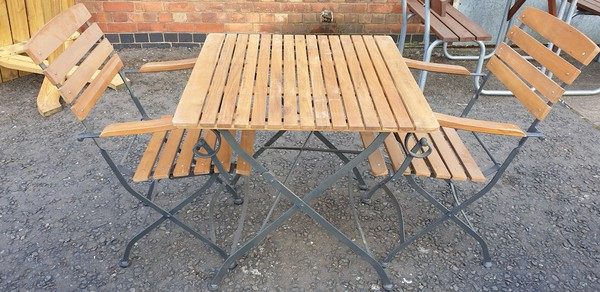 Newark Folding Metal & Teak Chairs and Tables for sale