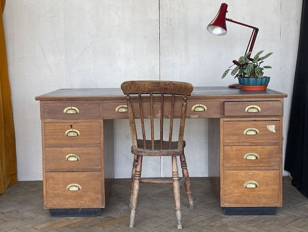Blue Leather-top Hardwood Desk, circa 1960s