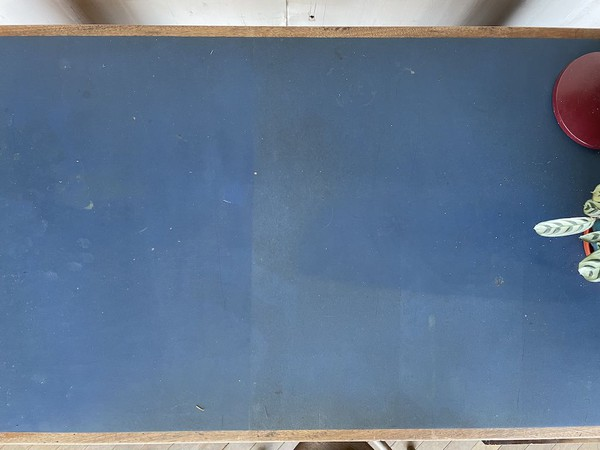 Blue Leather topped Wooden Desk