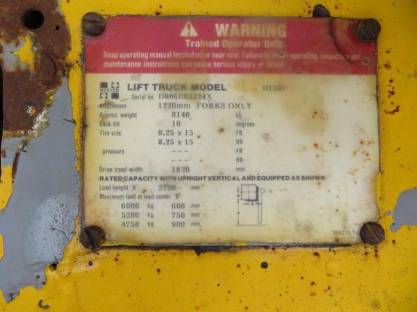 Hyster Diesel Forklift Truck Plate