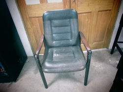 Mid Century Wooden Framed Leather Easy Chairs