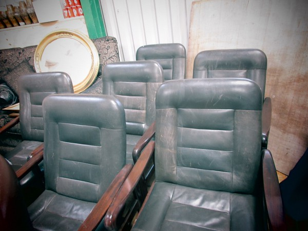 Mid Century Wooden Framed Leather Easy Chairs Set