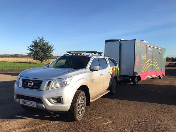 Exhibition trailer towed with pick up