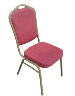 Stacking banqueting chairs with burgundy upholstery