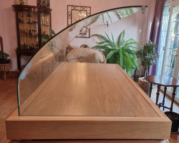 Counter top glass display case with curved glass